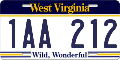 WV license plate 1AA212