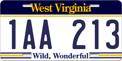 WV license plate 1AA213
