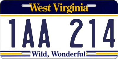 WV license plate 1AA214