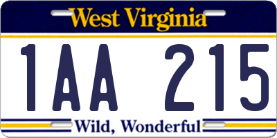 WV license plate 1AA215