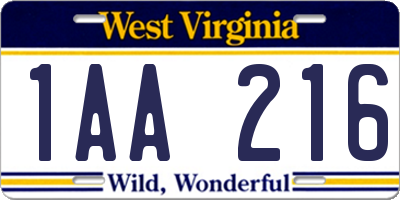 WV license plate 1AA216