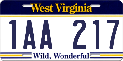 WV license plate 1AA217