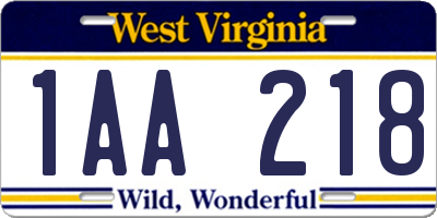 WV license plate 1AA218