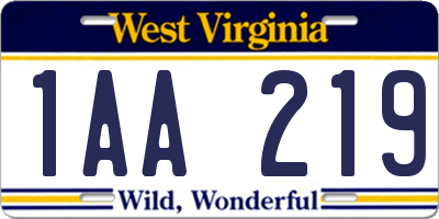 WV license plate 1AA219