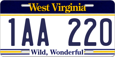 WV license plate 1AA220