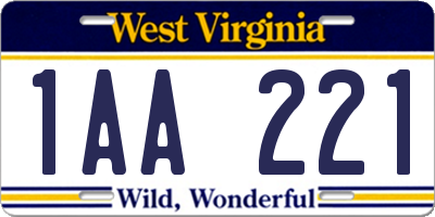 WV license plate 1AA221