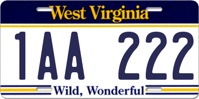 WV license plate 1AA222