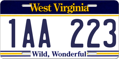 WV license plate 1AA223