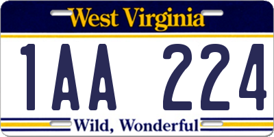 WV license plate 1AA224