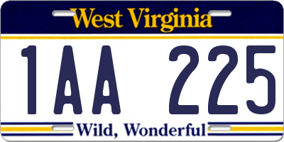 WV license plate 1AA225