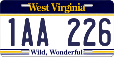 WV license plate 1AA226