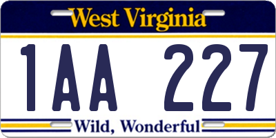 WV license plate 1AA227
