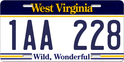 WV license plate 1AA228