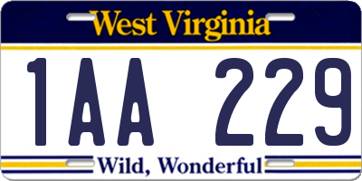 WV license plate 1AA229