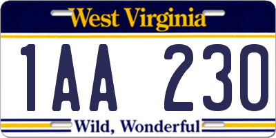 WV license plate 1AA230