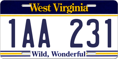 WV license plate 1AA231