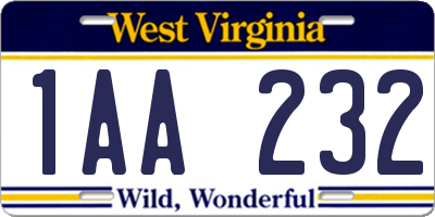 WV license plate 1AA232
