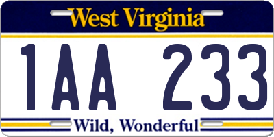 WV license plate 1AA233