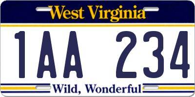 WV license plate 1AA234