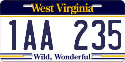 WV license plate 1AA235