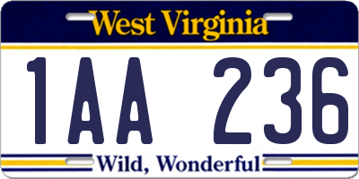 WV license plate 1AA236