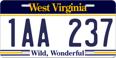WV license plate 1AA237
