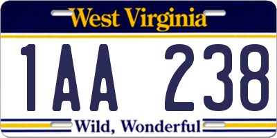 WV license plate 1AA238