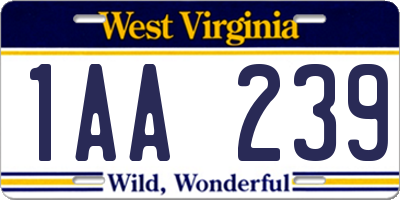 WV license plate 1AA239