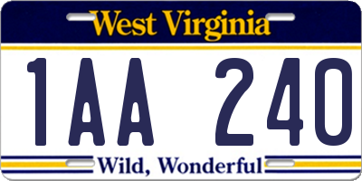 WV license plate 1AA240