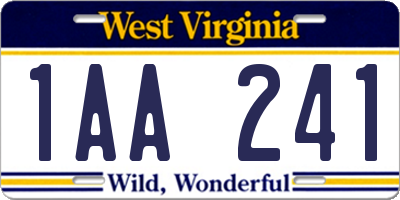 WV license plate 1AA241