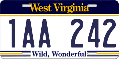 WV license plate 1AA242