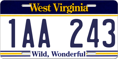 WV license plate 1AA243