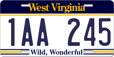 WV license plate 1AA245