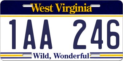 WV license plate 1AA246