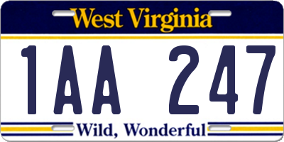 WV license plate 1AA247