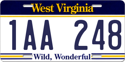 WV license plate 1AA248