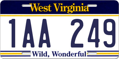 WV license plate 1AA249