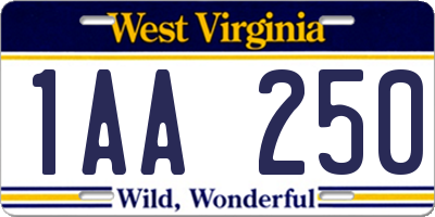 WV license plate 1AA250