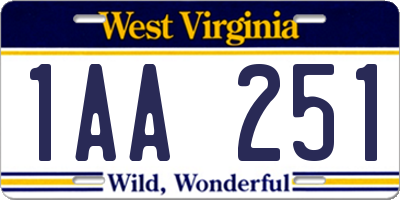 WV license plate 1AA251