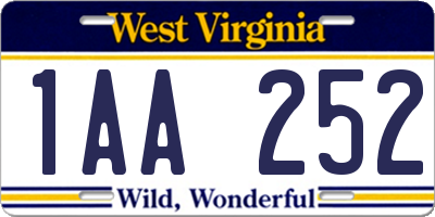 WV license plate 1AA252