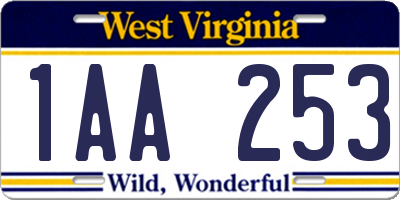 WV license plate 1AA253