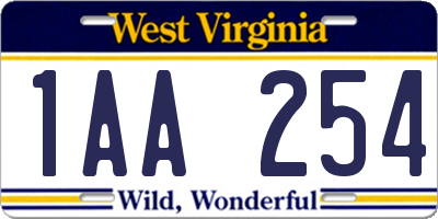 WV license plate 1AA254