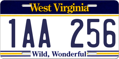 WV license plate 1AA256