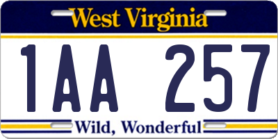 WV license plate 1AA257