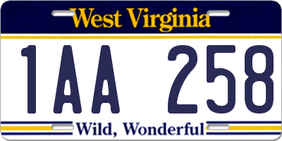 WV license plate 1AA258