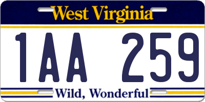 WV license plate 1AA259