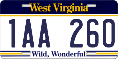 WV license plate 1AA260