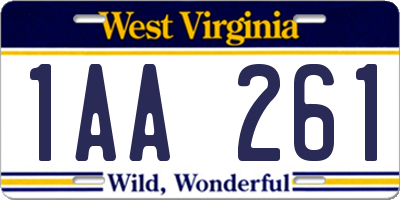 WV license plate 1AA261