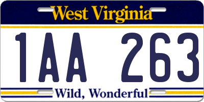 WV license plate 1AA263