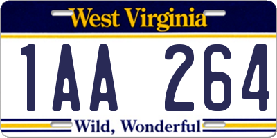 WV license plate 1AA264